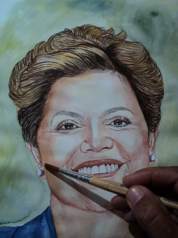 Retrato com aquarelas